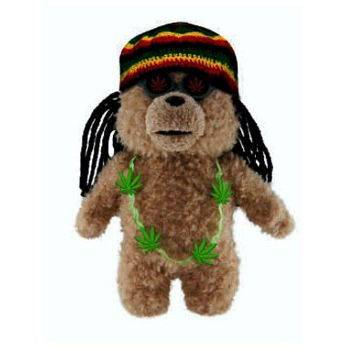 "Ted Bear in Rasta Outfit 8"" Plush with Sound - 1"