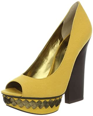 Nine West Women's Hairy Open-Toe Pump,Yellow Canvas,9.5 M US