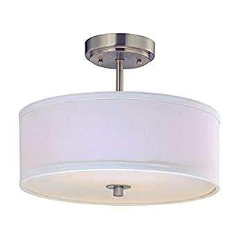 Drum Semi Flush Ceiling Light With White Shade 14 Inches Wide Semi Flush