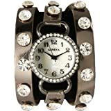 Chocolate Bronze Wrap Around Watch with Sparking Crystal Rhinestones Face Bling