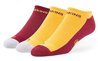 """Washington Redskins NFL 47 Brand """"Gait"""" 3 Pack Colorblocked Men's No Show Socks"""