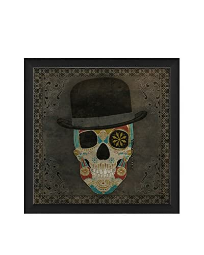 The Artwork Factory Sugar Skull With Hat Red Blue And Yellow Print