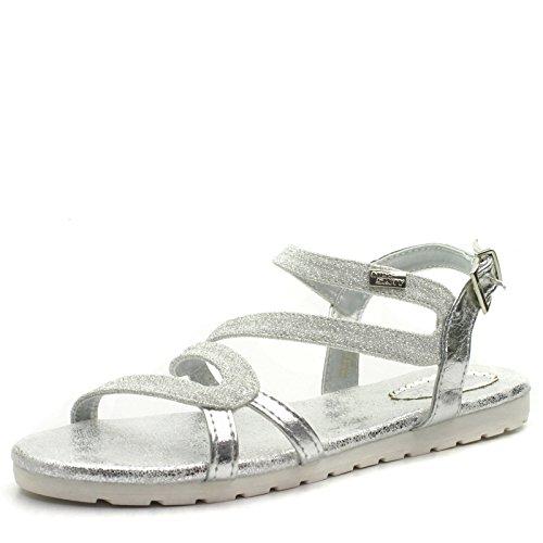 MS956 Miss Sixty Sandalo Piatto da Bambina in Argento Glitter Taglia 31