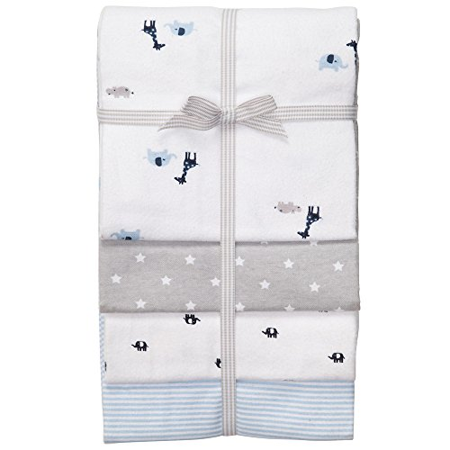 Carter's Receiving Blanket, Blue Giraffe and Elephant, 4 Count - 1
