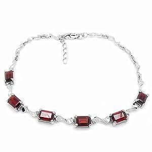 100% Genuine Nature Garnet 18K White Gold Plated 925 Sterling Silver Bracelet Fine Jewelry