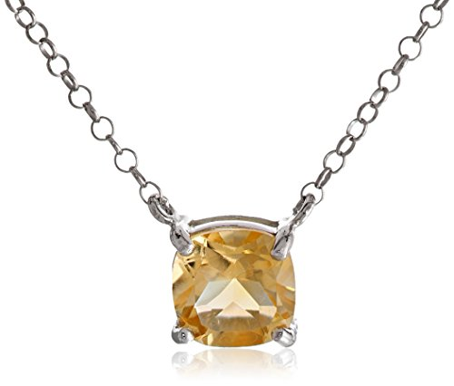 Sterling Silver Cushion Cut Citrine Pendant Necklace, 18″+ 2″ Extender