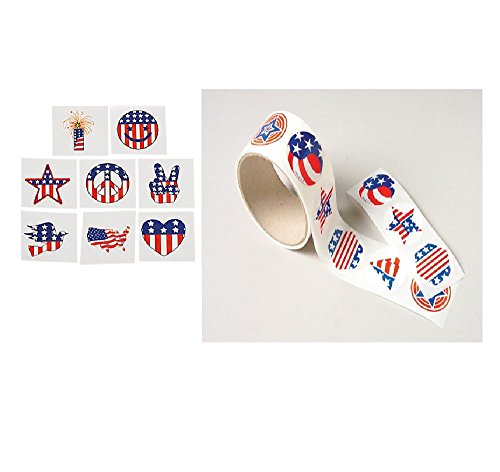 Patriotic USA - 4th of JULY Party FAVORS - 72 TATTOOS & 100 Stickers - America - SUMMER Arts & Crafts - TEACHER - Daycare