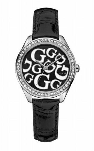 Guess W65008L2 - Reloj para mujeres, correa de cuero color negro