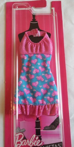 Barbie Fashionistas Halter Dress Pink Hearts with Sparkles - 1