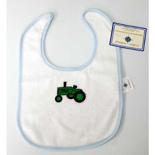Green Tractor Terrycloth Bib, Newborn Blue Trim