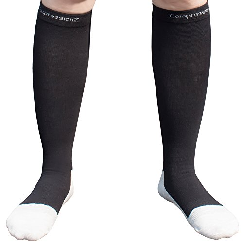 Men/Women Knee High Compression Socks Large Black (Full Length Compression Stockings compare prices)