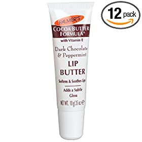 Palmer's Cocoa Butter Formula with Vitamin E, Lip Butter, Dark Chocolate & Peppermint, 0.35-Ounce Tubes (Pack of 12)