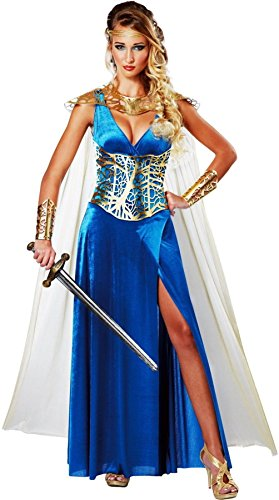 [Medieval Warrior Queen Costume Ladys Princess Blue Velour Fancy Dress Corset] (Dragon Lady Sexy Costumes)
