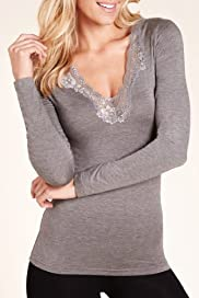 Heatgen V-Neck Long Sleeve Cut-Out Lace Thermal Top [T32-6351-S]