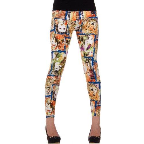 Damen Leggings, LEGGINGS, HOSE STRÜMPFE, von Hot-Fashion, SS-BF92300, Leo Blau, ONE SIZE