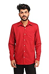 Snoby red plain cotton shirt SBY8063
