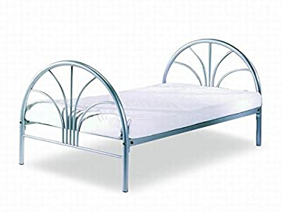 Bedzonline 3ft Single Nava Metal Bed In Silver