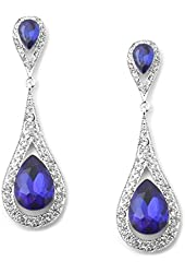 Sapphire Teardrop Crystal and Rhinestone Chandelier Earring - Blue Bridesmaid/Prom Jewelry