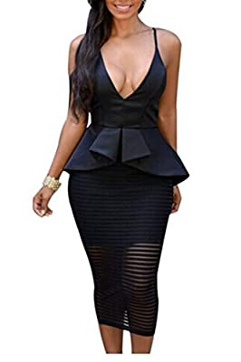 Zeagoo Women's Sexy V Neck Crisscross Cocktail Party Bodycon Midi Peplum Dress