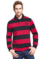Blue Harbour Pure Cotton Cut & Sew Striped Rugby Shirt