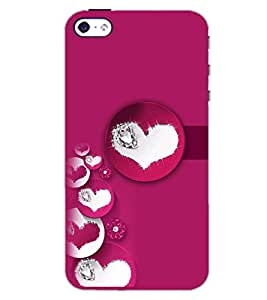 PrintDhaba PINK HEART PATTERN D-6398 Back Case Cover for APPLE IPHONE 4 (Multi-Coloured)