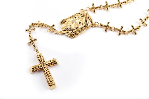 New! Iced Out Cross Linked Chain Rosary w/ The Last Supper & Pave Jesus GOLD