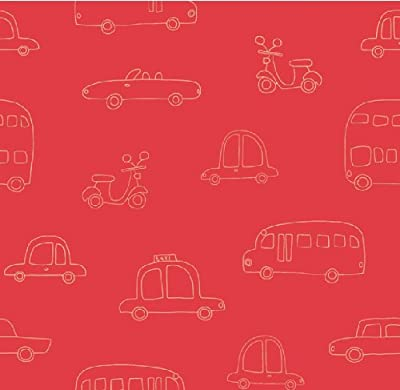 Hoopla Cars Red Bus Scooter Vehicle Childrens Bedroom 10m Wallpaper Roll Decor Art by DECORLINE