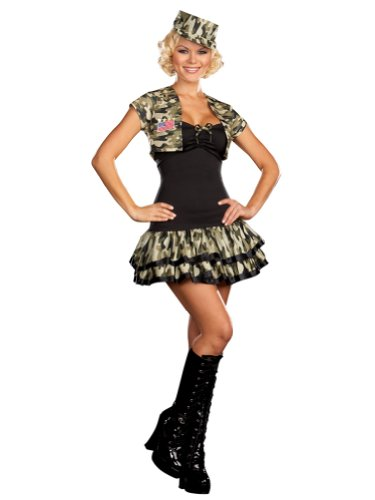 Sexy Army Uniform Mini Dress Camoflauge Camo Military Theatre Costumes