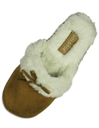 Cheap Goldtoe – Ladies Microsuede Slipper, Camel 24461 (B004S2O2SC)
