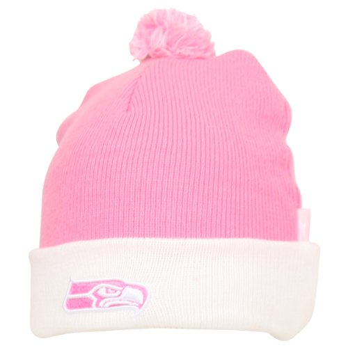 Women's NFL Pink and White Ball Top Cuffed Winter Knit Hat - Seattle Seahawks at Amazon.com