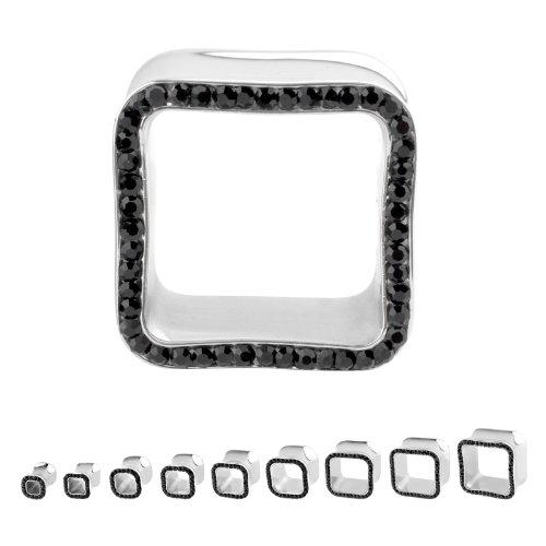 316L Surgical Steel Cubic Zirconia Black Square Multigem Plugs - 7/8