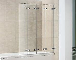 4 panel semi frameless folding bath screen amazon co uk details about fold away shower screen over bath folding