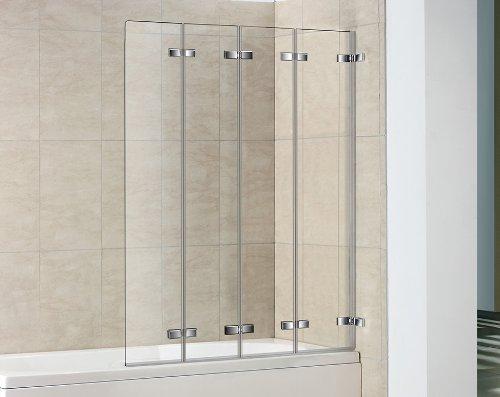4 Panel Semi Frameless Folding Bath Screen Bathroom