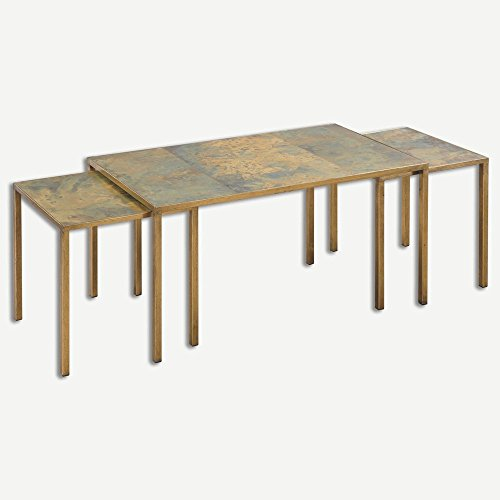"""Uttermost 24450 Couper - 36"""" Nesting Coffee Table (Set Of 3), Gold Leaf/Oxidized Copper Finish"""