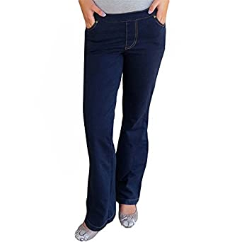 Pajama Jeans As Seen On TV Stretch Denim Boot Cut Pants Large Blue