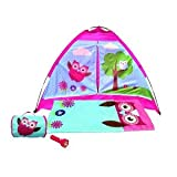 4 Piece Girls Summer Camping Tent/Play Tent with Sleeping Bag, Flash Light and Carry Case, Owl Design, Indoor or Outdoor Play Tent