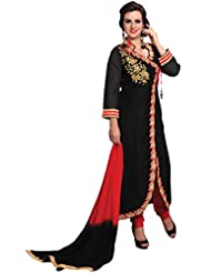Manvaa Black Cotton A-line Embroidered Suit