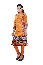 KIMYRAA Women's Cotton Kurta (KLK-1007-ORANGE-L)