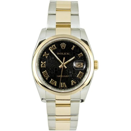 Rolex Mens New Style Heavy Band Stainless Steel & 18K Gold Datejust Model 116203 Oyster Band Smooth Bezel Black Anniversary Roman Dial