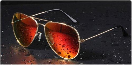 Mode Sonnenbrille für Damen und Herren,reflektierende Sonnenbrille,Gradientfarben (gold+orange-rot)