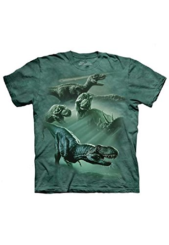 The Mountain Dinosaur Collage T-Shirt, Green, Child Medium front-148488