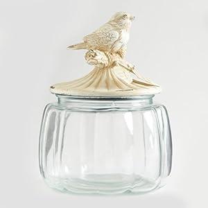 glass jar with distressed white metal bird. Black Bedroom Furniture Sets. Home Design Ideas