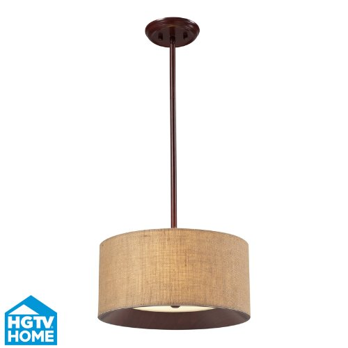 Elk Lighting 14140/3 HGTV Home Nathan 3-Light Semi Flush Pendant with Wood Shade, 15 by 8-Inch, Dark Walnut Finish