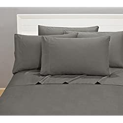 Microfiber Sheet Set Quality Bedding 1800 Count Series 6 Piece Classic Soft Bed Linens Designed To Add An Elegant Touch To Your Bedroom (King, Grey)