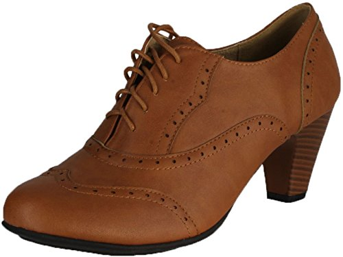 REFRESH AMANY-01 Women's Cuban heel Ankle booties Oxfords,Amany-01 Tan 7