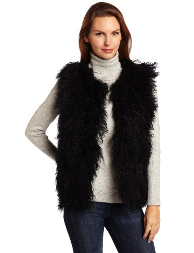 525 America Women''''s Mongolian Lamb Vest, Black, Small