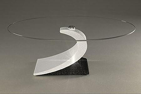 Mesa de centro con zona de estar con un vaso de mármol Modelo. Ciplope - Cm 110 x 65 - altura: cm 44 - Acabado: Blanco /Negro con brillo de plata