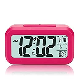 Anseahawk Morning Digital Clock, Progressively Louder Wakey Digital Alarm Clock, Silent with Sensor Light + Night Light Repeating Snooze Date Temperature Large LCD Display, Red