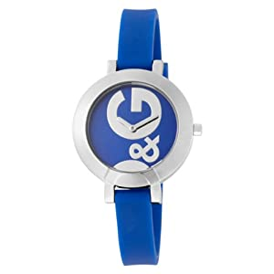 D&G Ladies Hoop-La Quartz Analogue Watch DW0669 with Blue Dial, Stainless Steel Case and Blue Silicon Strap