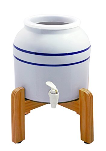 New Wave Enviro Porcelain Dispenser with Wood Counter Stand, Blue Striped (Ceramic Crock Water Dispenser compare prices)